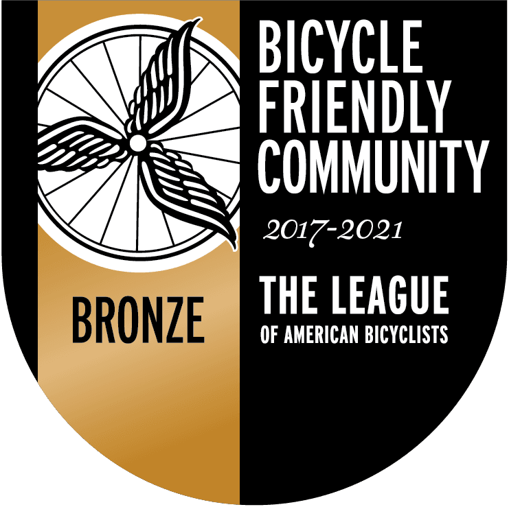 "Bronze Shield with ""Bronze Bicycle Friendly Community, 2017-2021, The League of American Bicyclis"