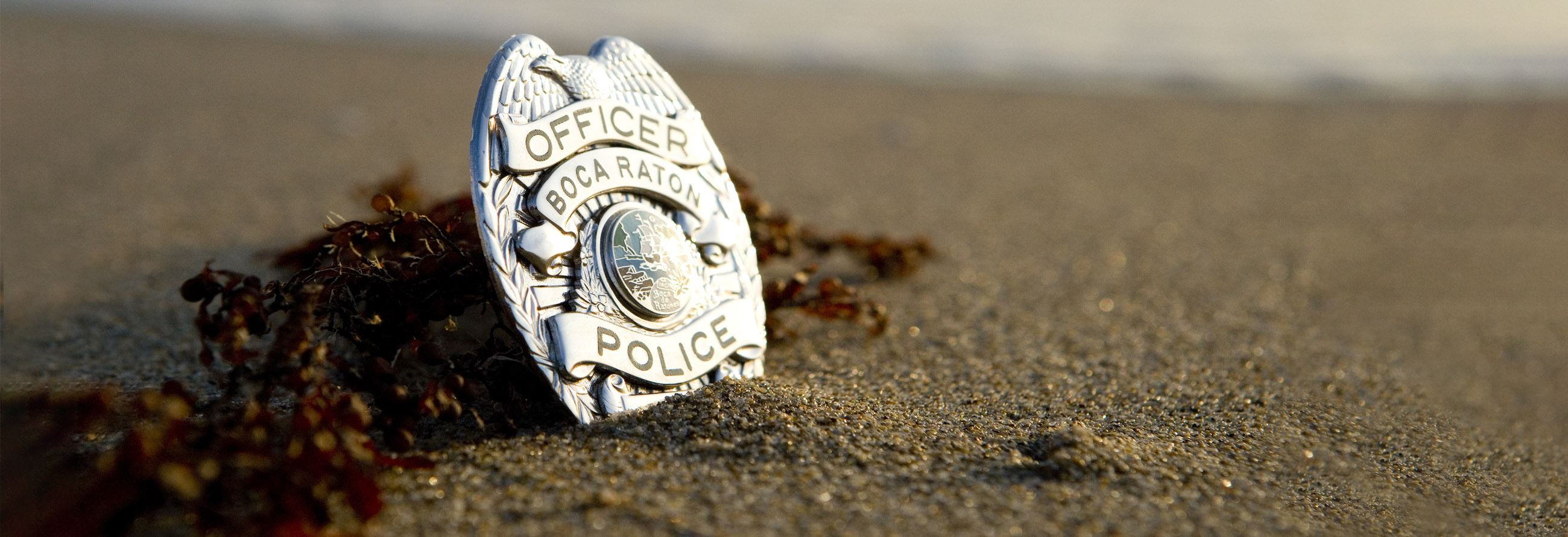 police badge in the sand seaweed