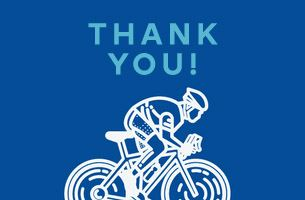 """Thank you!"" above an illustration of a bicyclist"