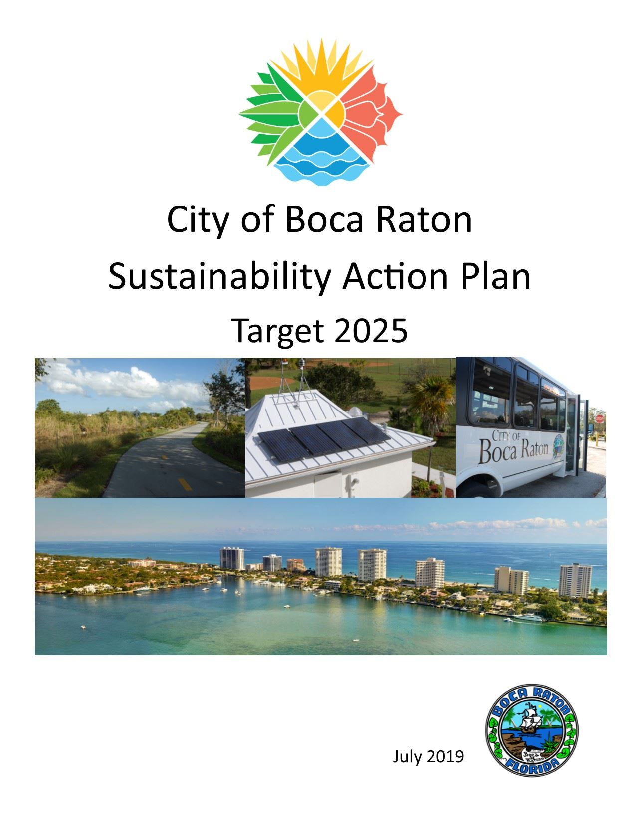 City of Boca Raton Sustainability Action Plan Target 2025 July 2019 Cover Page