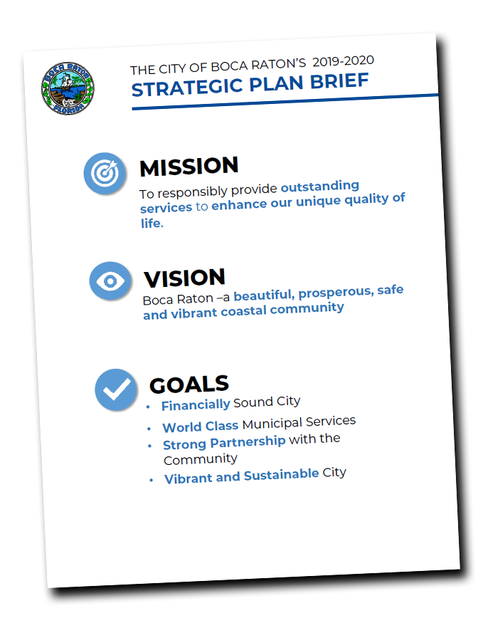 first page of the City of Boca Raton's 2019-2020 Strategic Plan Brief showing the Mission, Vision