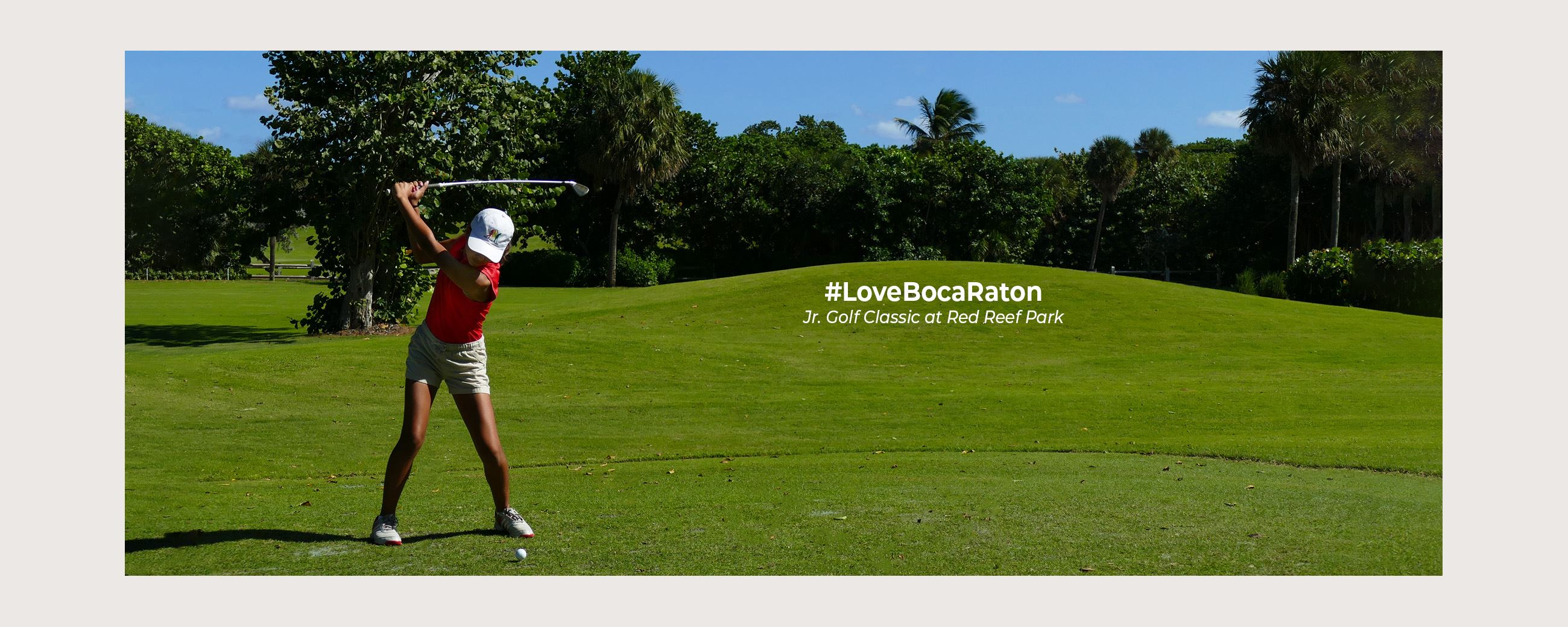 Young girl playing golf at Junior Golf Classic at Red Reef Park. #Love Boca Raton
