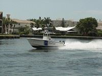 Police boat sailing on the Intracoastal Waterway