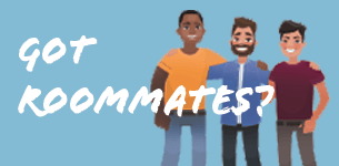 Got roommates? Cartoon people smiling with their arms around each other.