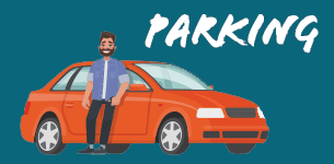 Parking. Cartoon of man leaning against car.