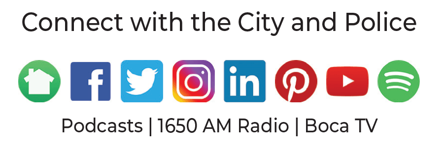 Connect with the City and Police. Social media logos for various platforms. Podcasts, 1650 AM Radio, Opens in new window